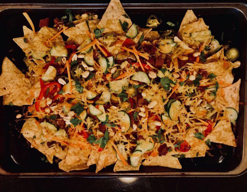 Vegan nachos gratiné à la thaï