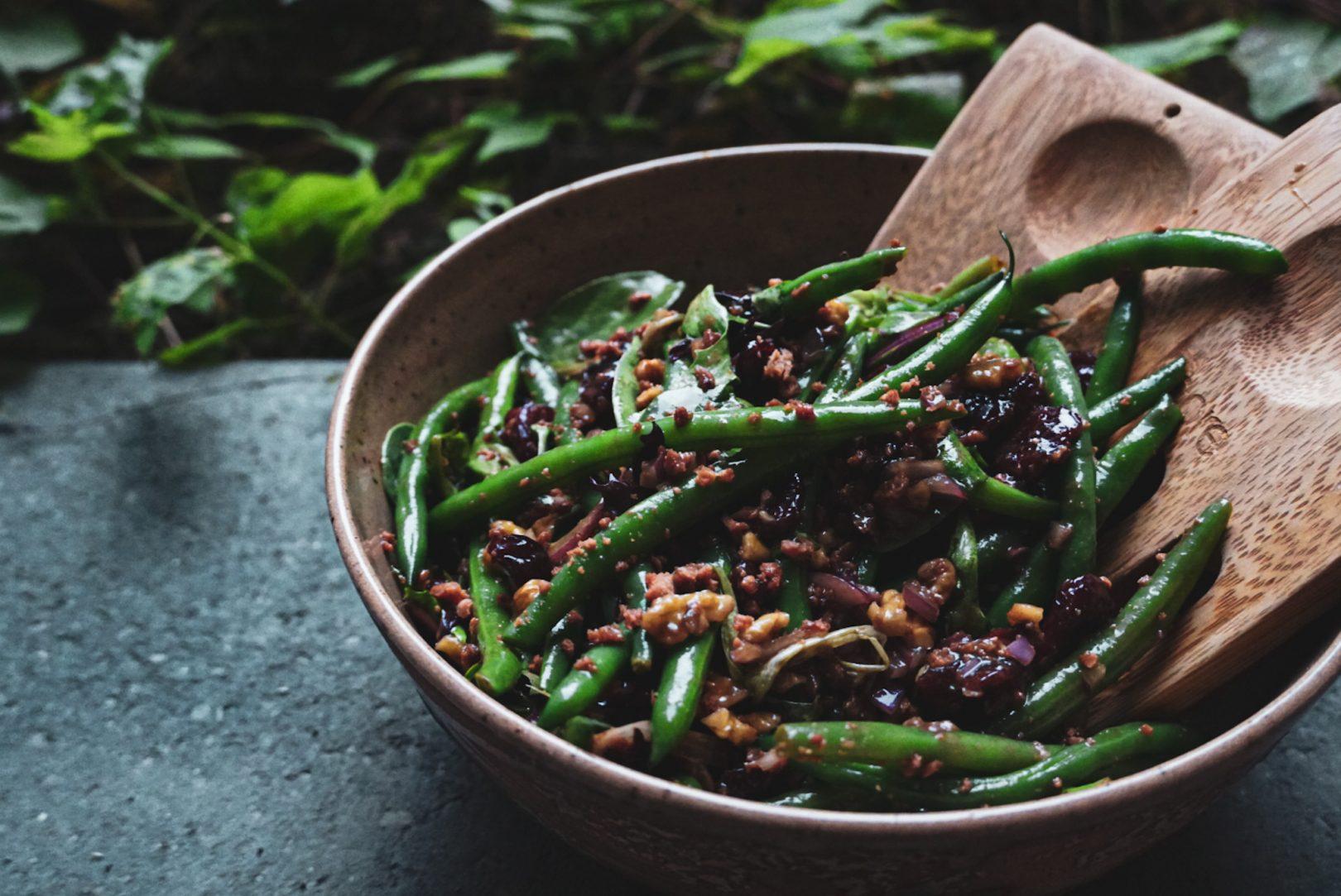 Salade d'haricots verts et bacon
